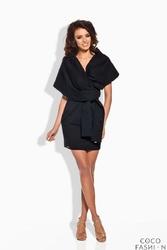 Czarna Wiązana Mini Sukienka