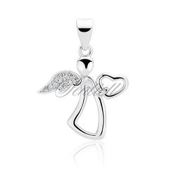 Srebrna zawieszka pr.925 anioł z cyrkoniami - rodowanie  biała