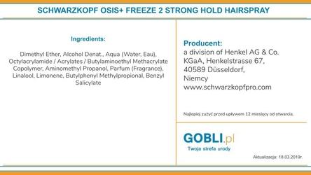 Schwarzkopf osis freeze mocny, szybkoschnący lakier do długotrwałego utrwalania 300ml