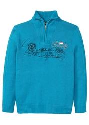 Sweter ze stójką regular fit bonprix ciemnoturkusowy