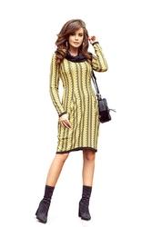 Sukienka z golfem i kieszeniami w miodowe warkocze