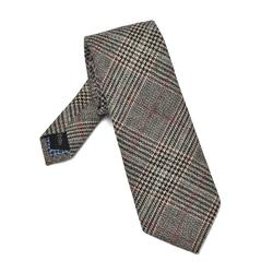 Szary krawat wełniany w kratę księcia walii