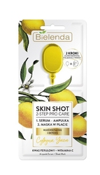Bielenda skin shot 2-step pro care maska w płacie + ampułka-serum cytryna yuzu 1szt