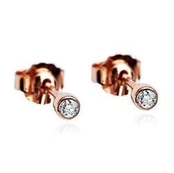 kolczyki różowe złoto i diamenty