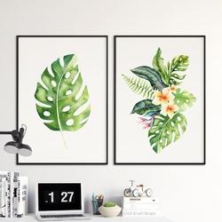 Zestaw dwóch plakatów - tropical duet , wymiary - 40cm x 50cm 2 sztuki, kolor ramki - czarny