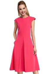 Różowa Klasyczna Rozkloszowana Sukienka z Kontrafałdą