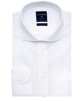 Elegancka biała koszula męska taliowana, slim fit o splocie typu panama 41