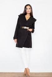Czarny elegancki płaszcz bez zapięcia ze złotym paskiem