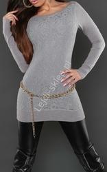 Szara elegancka tunika z gipiurową wyrazistą koronką z przodu   gipiurowe wizytowe tuniki, 8069