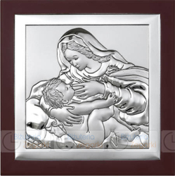 Obrazek BC64295WM Matka Boska Karmiąca na ciemnym drewienku 21 x 21 cm.