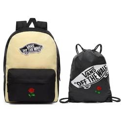 Plecak vans realm golden haze-black custom rose - vn0a3ui6v5g + worek