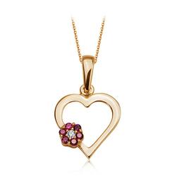 Zawieszka złota Serce 0,333 z kwiatem z różowych cyrkonii