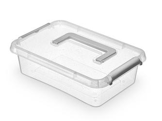 Pojemnik do przechowywania rzeczy  zabawek  na żywność  artykuły higieniczne  z pokrywką i rączką  mikrocząstki srebra orplast nanobox 3,