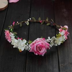 WIANEK do włosów RÓŻE kwiaty RÓŻOWY liście ŚLUB