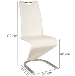 Krzesło tapicerowane do jadalni tilly białe ekoskóra