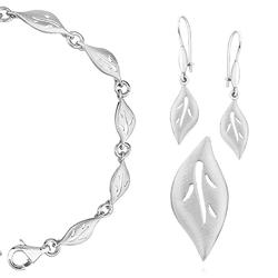 komplet biżuterii liść rodowane srebro 925
