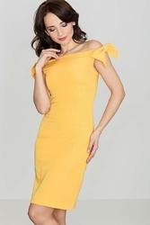 Szykowna musztardowa sukienka z kokardkami na ramionach