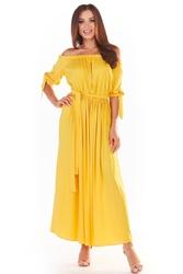 Długa sukienka z hiszpańskim dekoltem - żółta