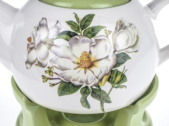 Dzbanek ceramiczny z podgrzewaczem 1 l kwiaty