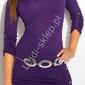 Fioletowy sweter z haftem na plecach  sweter z rękawem 34, 8011