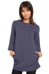 Bluzka-tunika z luźnymi rękawami 34 niebieska b015