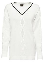 Sweter oversize bonprix biało-czarny