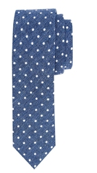 Elegancki niebieski krawat Profuomo w białe grochy