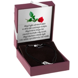Srebrna bransoletka sznurkowa ze skrzydłem czarna prezent z dedykacją