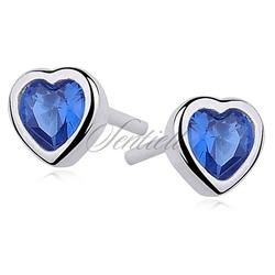 Kolczyki serca srebrne pr.925 cyrkonia szafirowa serce
