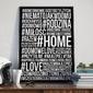 Hashtag home - plakat typograficzny w ramie , wymiary - 70cm x 100cm, wersja - białe napisy + czarne tło, kolor ramki - biały