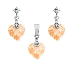 Lara sun komplet srebrnej biżuterii wisiorek kolczyki cyrkonie serca