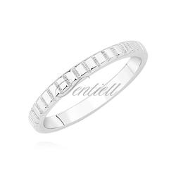 Srebrny pierścionek obrączka pr.925 zdobiona nacięciami w formie ząbków