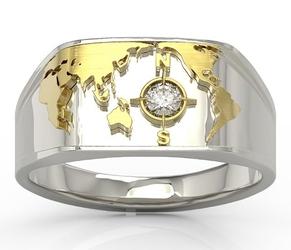 Sygnet morski z białego i żółtego złota z brylantem sj-1410bz - białe i żółte