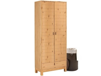 Drewniana dwudrzwiowa szafa w naturalnym kolorze ella z szufladą