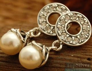 Madera - srebrne kolczyki perła i kryształy