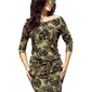 Sukienka ściągana w okrągłe liście khaki