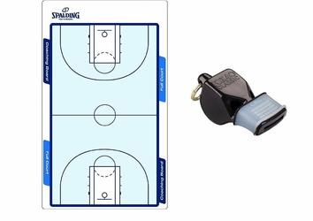 Tablica trenerska taktyczna do koszykówki Spalding Coaching Board - 300157403 + Gwizdek FOX40 Classic Official CMG ze sznurkiem
