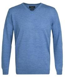 Elegancki niebieski sweter prufuomo z delikatnej wełny merynosów xxl