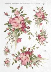 Papier ryżowy ITD A4 R327 róże bukiet