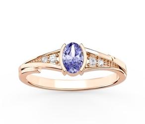 Pierścionek zaręczynowy z różowego złota z tanzanitem i diamentami jp-2705p