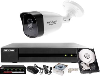 Komplet ip sieciowy biura, sklepu, magazynu rejestrator ip hwn-4104mh + 1x kamera 4mp hwi-b140h-m + akcesoria