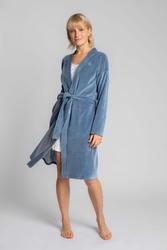 Długi szlafrok z weluru przewiązany paskiem - niebieski