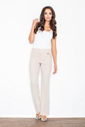 Beżowe eleganckie spodnie z szerokimi nogawkami