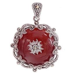 Isoro srebrny wisiorek agat markazyty okrągły czerwony