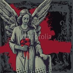 Obraz na płótnie canvas dwuczęściowy dyptyk tło grunge z żałobnym aniołem