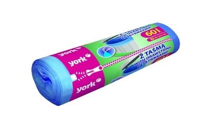York, worki na śmieci z taśmą 60l10szt nieb