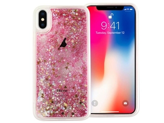 Etui liquid glitter apple iphone x xs brokat różowy + szkło 9h