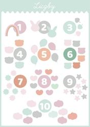 Słodkie liczby miętowe - plakat wymiar do wyboru: 59,4x84,1 cm