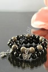 Czarno szara bransoletka z kamieni naturalnych 10mm, hand made