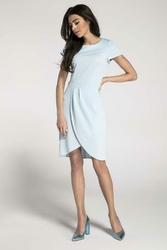 Błękitna Sukienka z Krótkim Rękawem i Kopertowym Dołem
